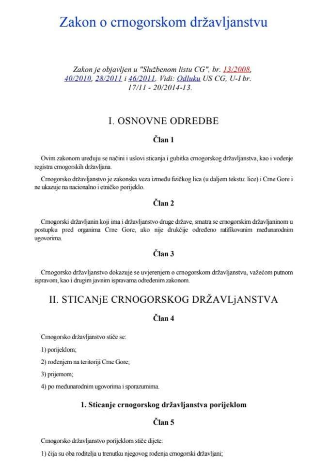 Zakon o crnogorskom državljanstvu-prečišćen tekst