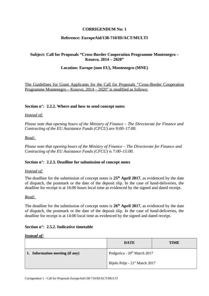 Corrigendum 1 - 1st Call for Proposals CBC MNE-KOS, corrected version