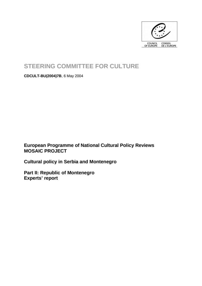 Cultural policy: Republic of Montenegro - Experts report