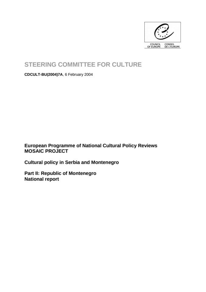 National Report on Cultural Policy