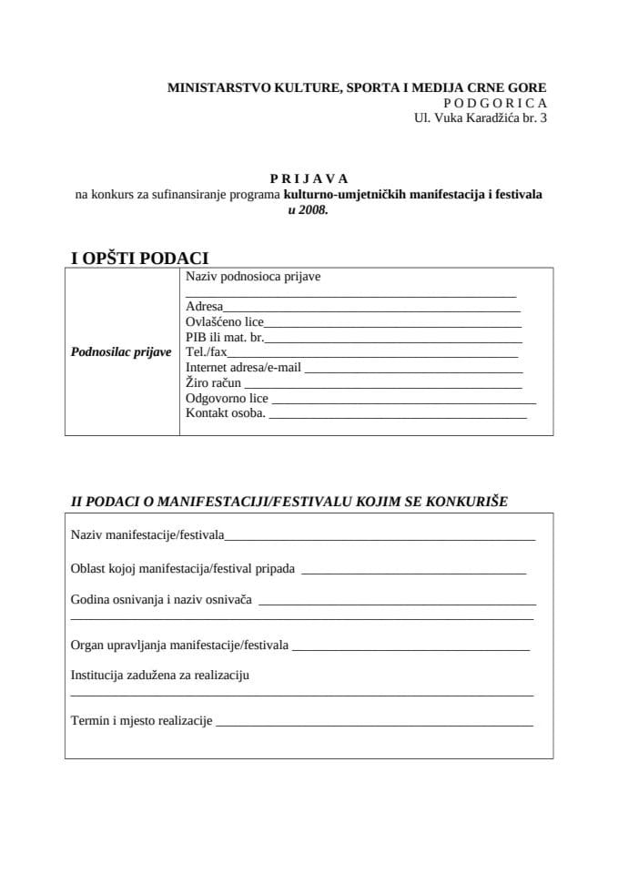 Ministarstvo kulture, sporta i medija Crne Gore objavljuje KONKURS za sufinansiranje kulturno-umjetn