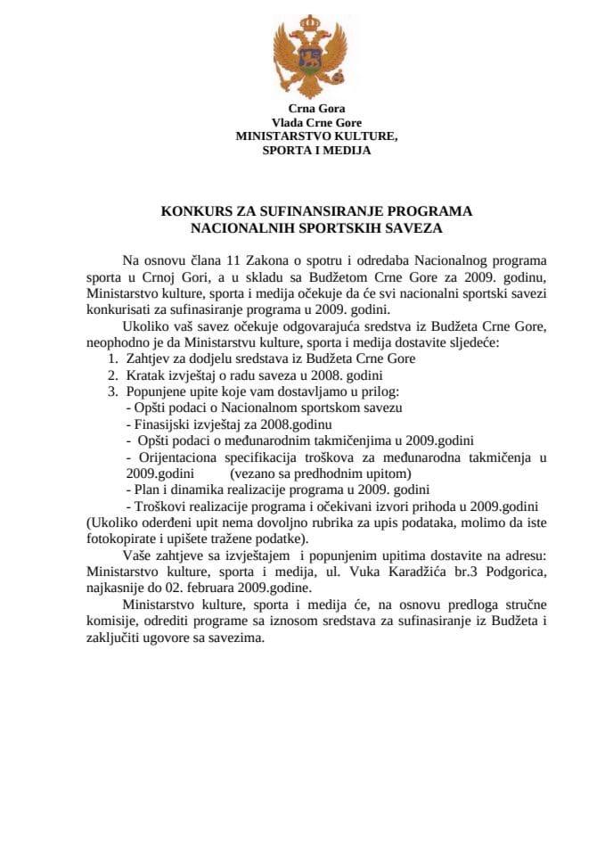 Konkurs za sufinansiranje programa nacionalnih sportskih saveza