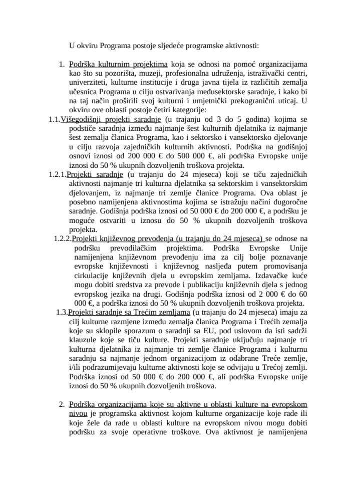 Saopštenje: Ministarstvo kulture, sporta i medija Crne Gore je pokrenulo proceduru pristupanja Progr