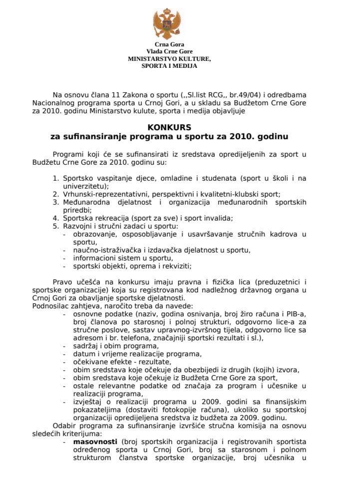 KONKURS za sufinansiranje programa u sportu za 2010. godinu