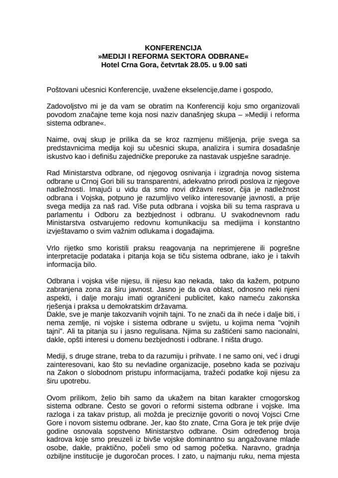 Ministar odbrane Boro Vučinić otvorio konferenciju Mediji i reforma sektora odbrane