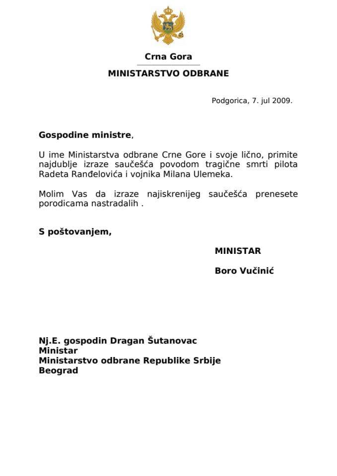Saopštenje: Ministar odbrane Boro Vučinić uputio telegram saučešća ministru odbrane Republike Srbije