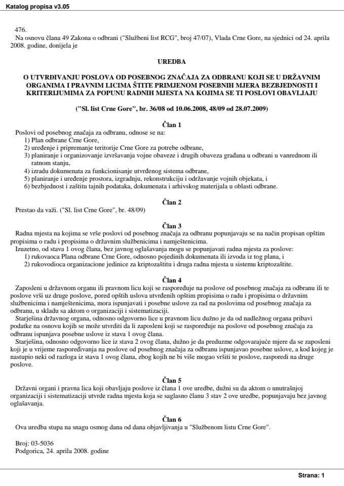 Uredba o utvrdjivanju poslova od posebnog značaja za odbranu