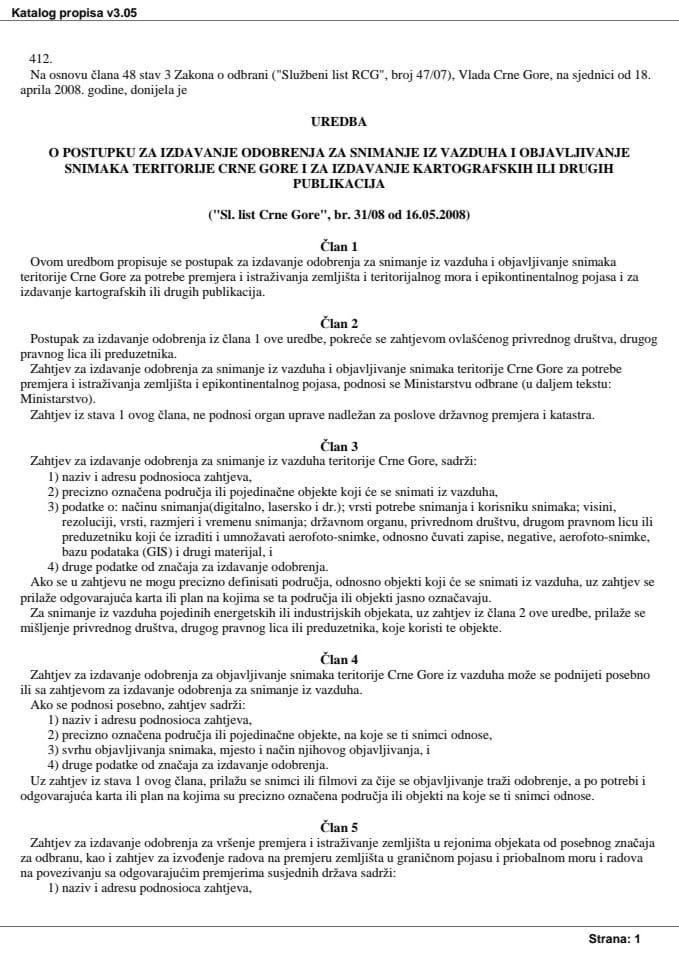 Uredba o postupku za izdavanje odobrenja za snimanje iz vazduha