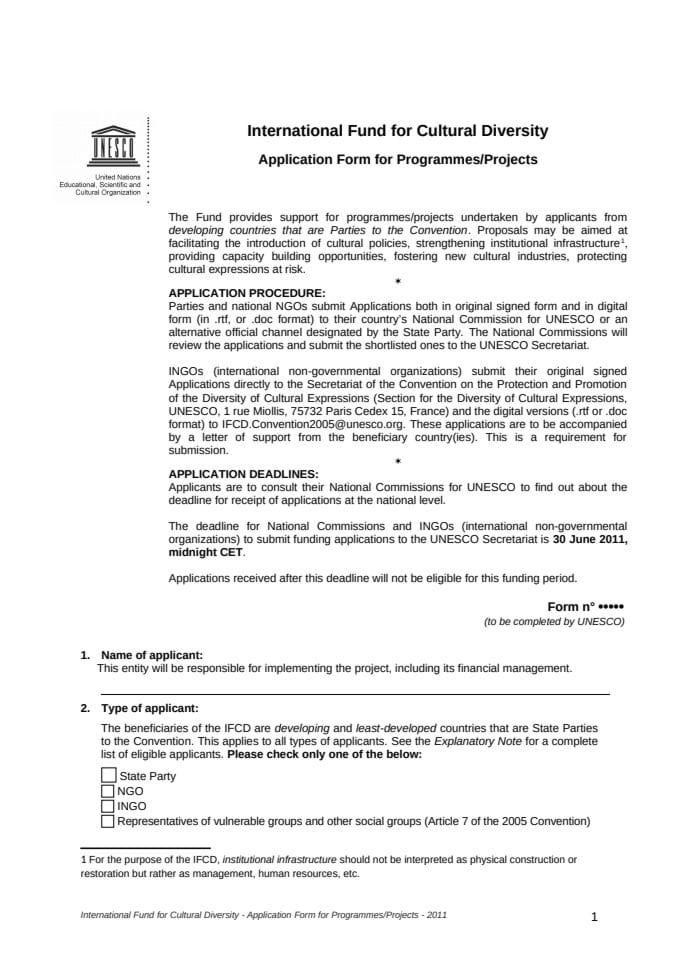 IFCD, Obrazac prijave za programe, projekte, EN