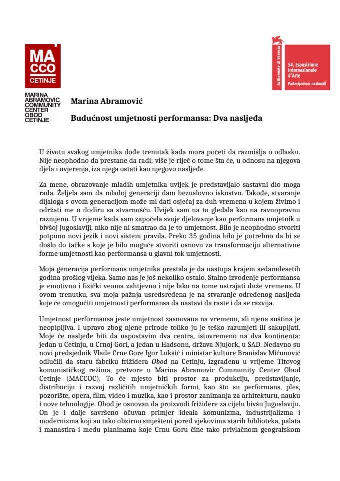 Marina Abramovic Statement