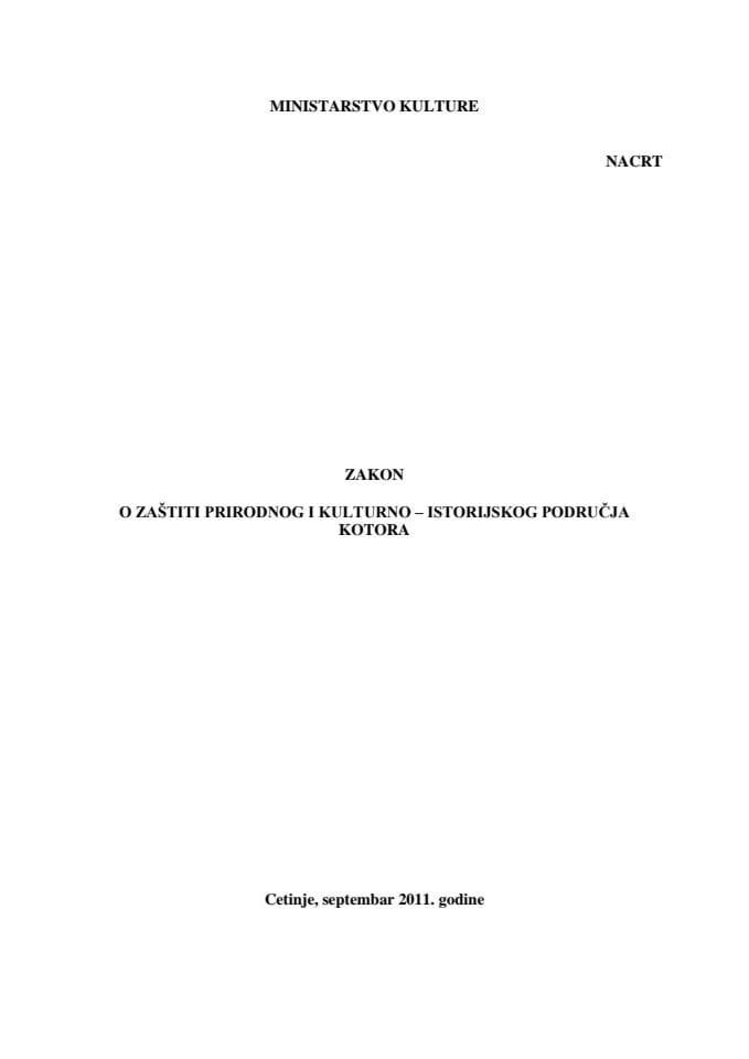 Zakon Kotor - Nacrt - sa Obrazlozenjem