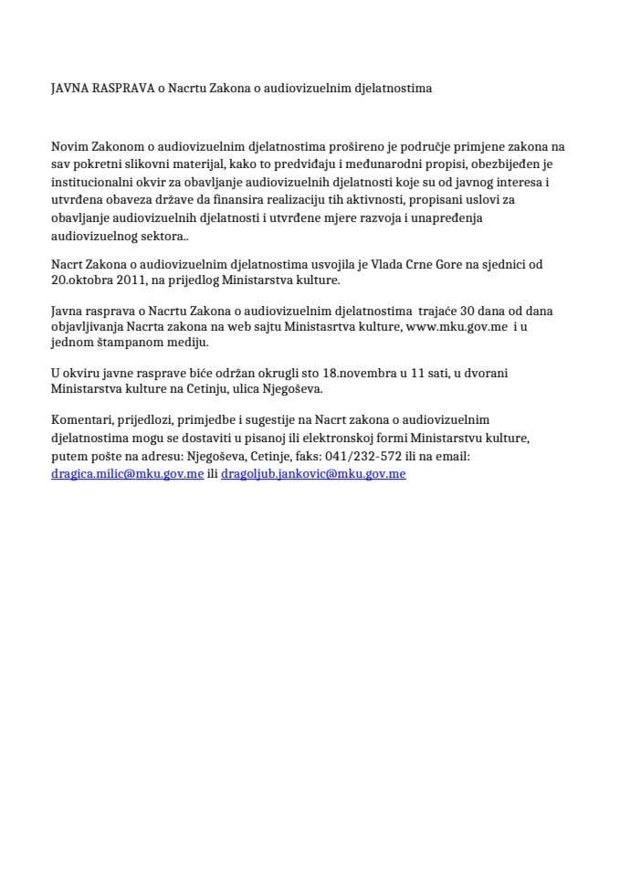 javna rasprava - audiovizuelne djelatnosti