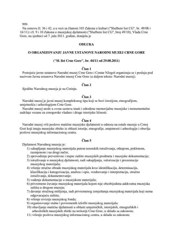 Odluka o organizovanju Javne ustanove Narodni muzej Crne Gore