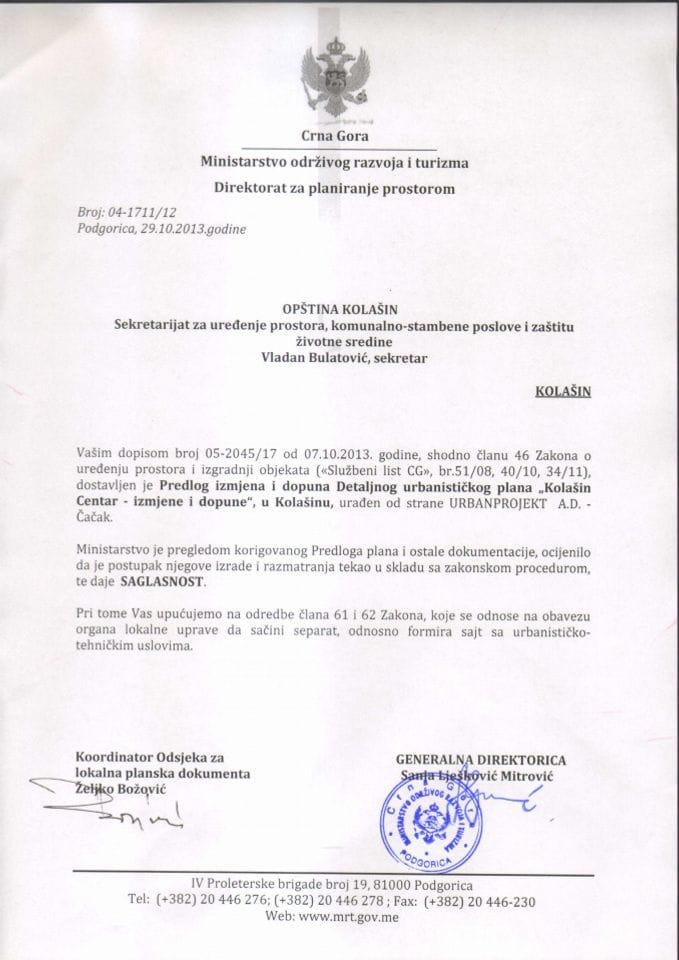 04_1711_12 SAGLASNOST NA PREDLOG IID  DUP-A KOLASIN CENTAR KOLASIN