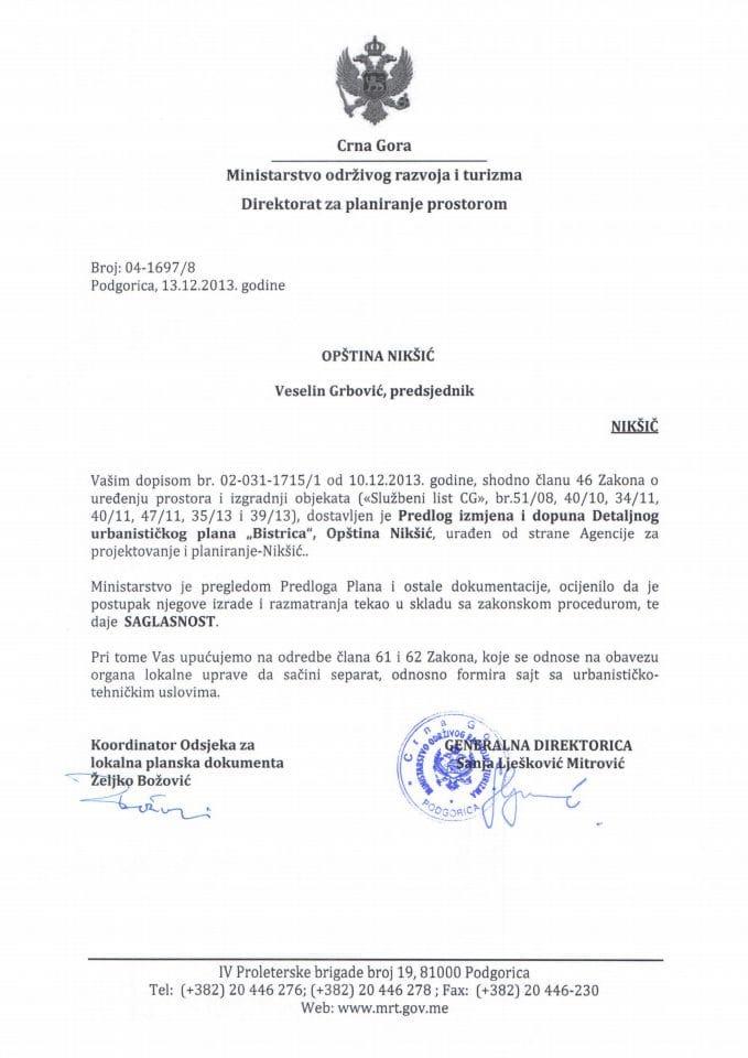 04_1697_8 SAGLASNOST NA PREDLOG IID DUP-A BISTICA OPSTINA NIKSIC