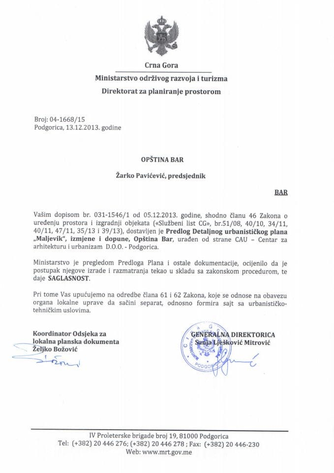 04_1668_15 SAGLASNOST NA PREDLOG DUP-A MALJEVIK IID OPŠTINA BAR