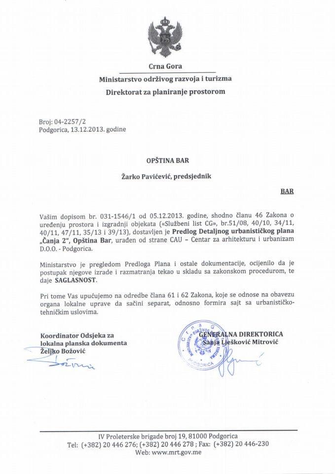 04_2257_2 SAGLASNOST NA PREDLOG DUP-A ČANJ II OPŠTINA BAR