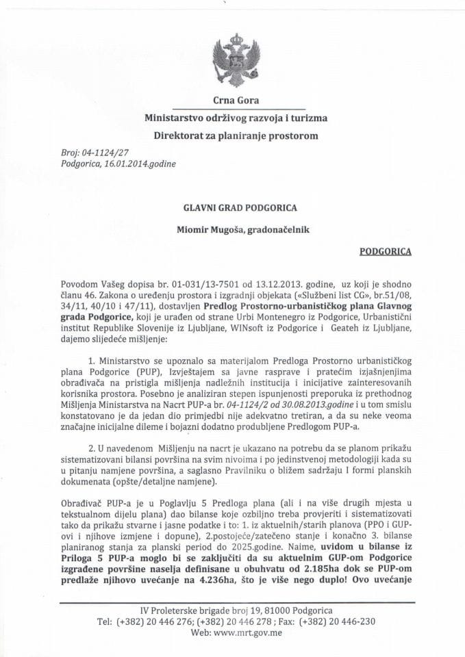 04_1124_27 MIŠLJENJE NA PREDLOG PUP-A PODGORICA GLAVNI GRAD PODGORICA