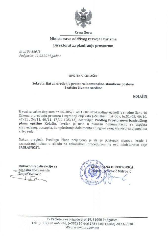 04_380_1 SAGLASNOST NA PREDLOG PUP-A KOLAŠIN OPŠTINA KOLAŠIN