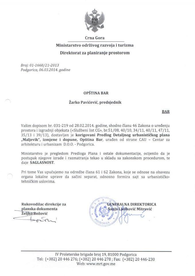 01_1668_21_2013 SAGLASNOST NA PREDLOG DUP-A MALJEVIK OPSTINA BAR