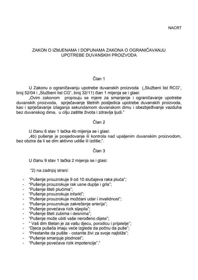 NACRT Zakona o izmjenama i dopunama zakona o ograničavanju upotrebe duvanskih proizvoda
