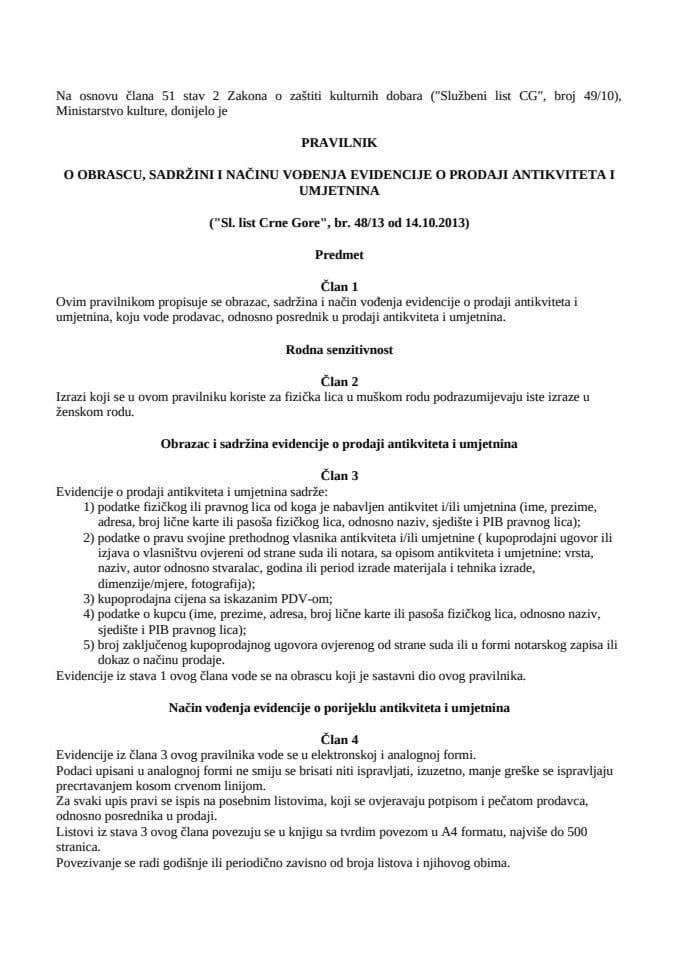 Pravilnik o obrascu, sadržini i načinu vođenja evidencije o prodaji antikviteta i umjetnina