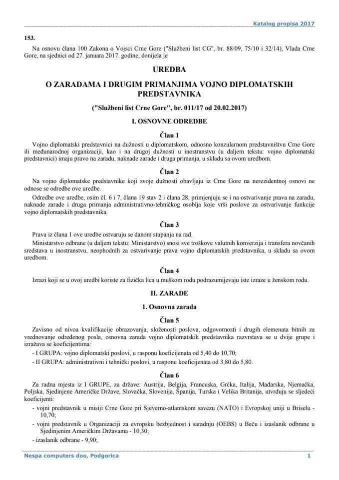 Uredba o zaradama i drugim primanjima vojno diplomatskih predstavnika