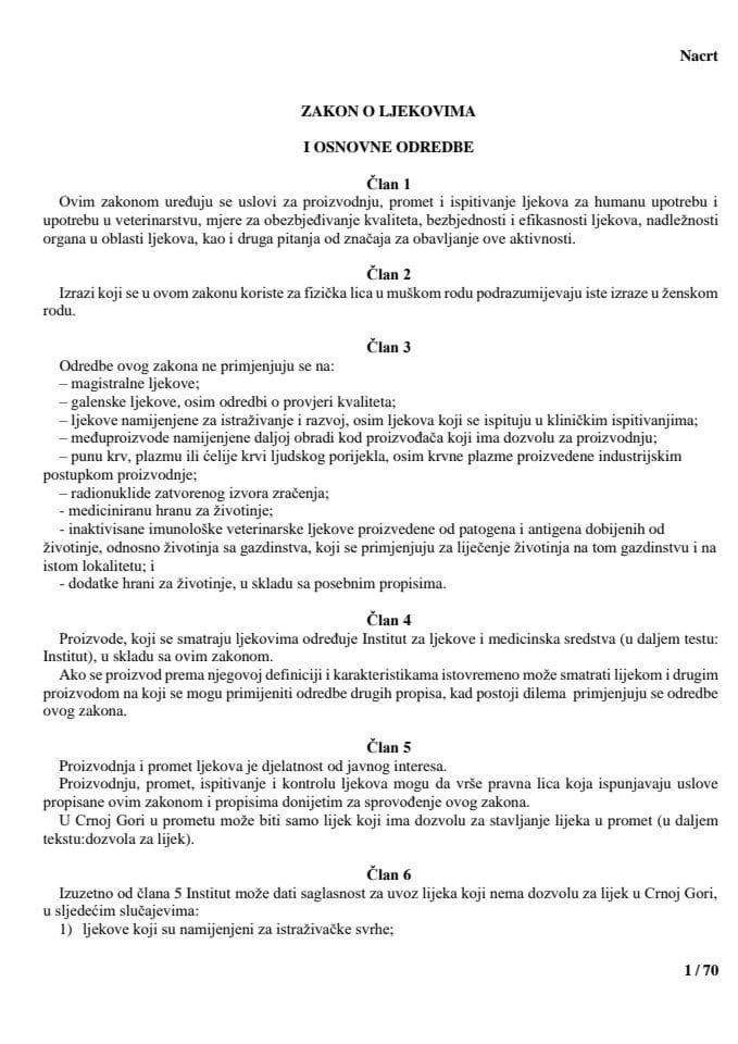 Nacrt zakona o ljekovima sa obrazloženjem 05-05-2017
