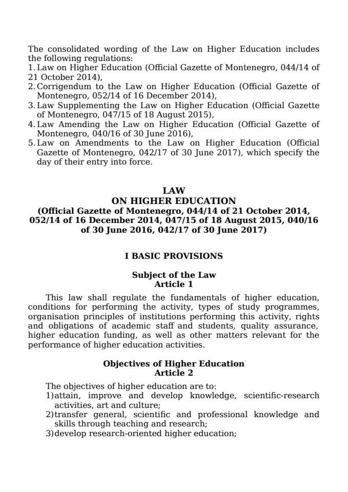 Law on Higher Education