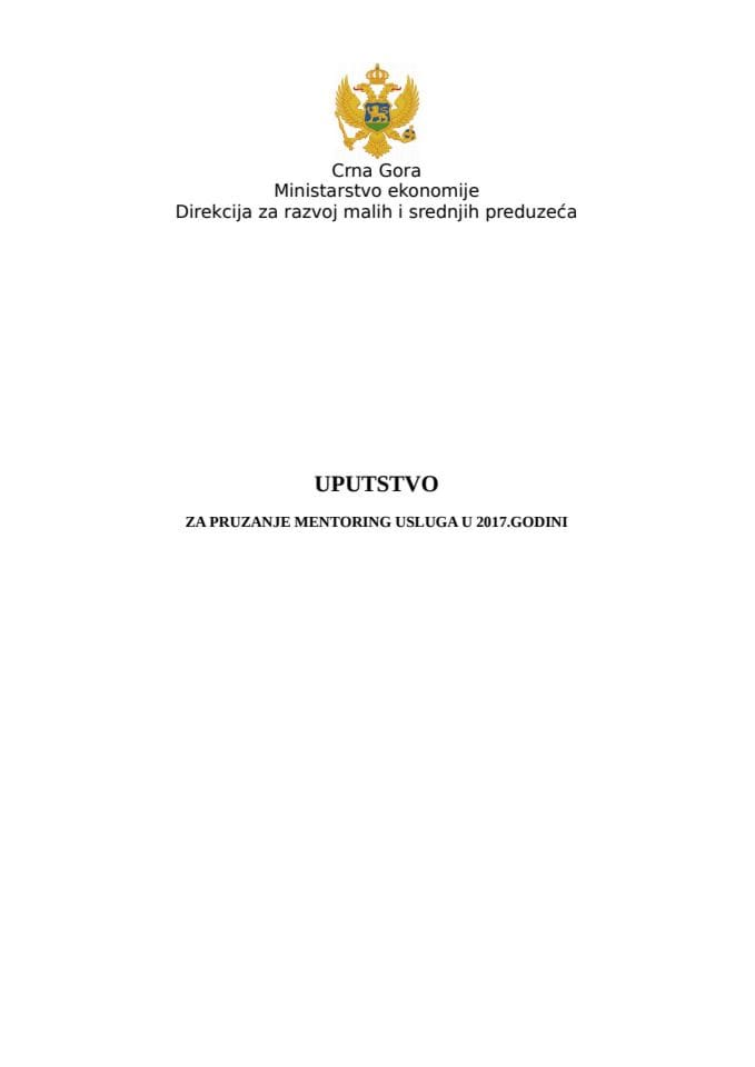Uputstvo - Mentoring