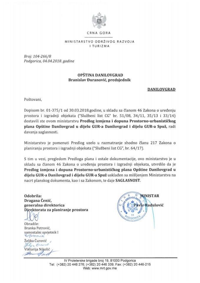 104-266_8 Saglasnost na Predlog IID PUP-a Opštine Danilovgrad u dijelu GUR-a Danilovgrad i dijelu GUR-a Spuž
