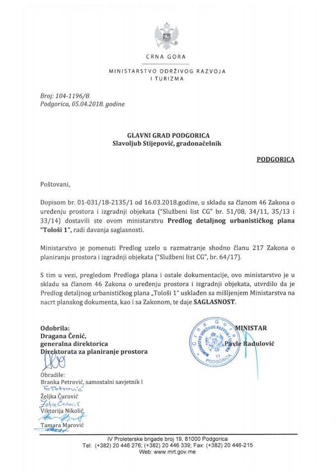 104-1196_8 Saglasnost na Predlog DUP Tološi 1, Glavni grad Podgorica