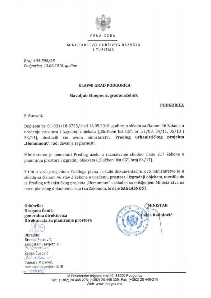 104-598_28 Saglasnost na Predlog UP Hemomont, Glavni grad Podgorica