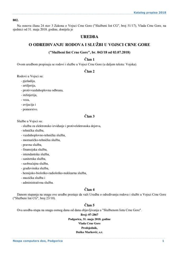 Uredba o određivanju rodova i službi u VCG