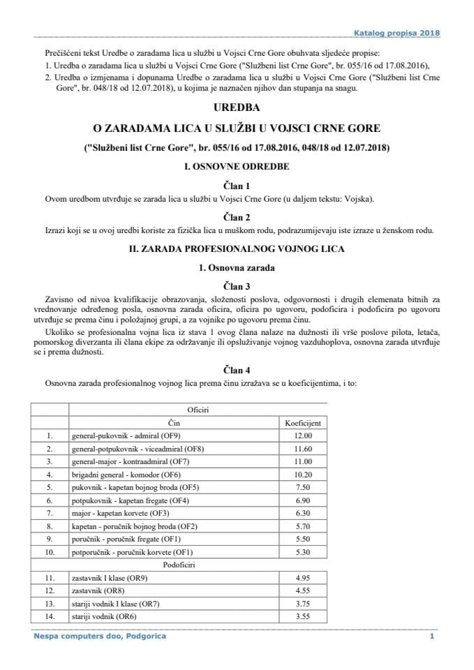Uredba o zaradama lica u službi u Vojsci Crne Gore