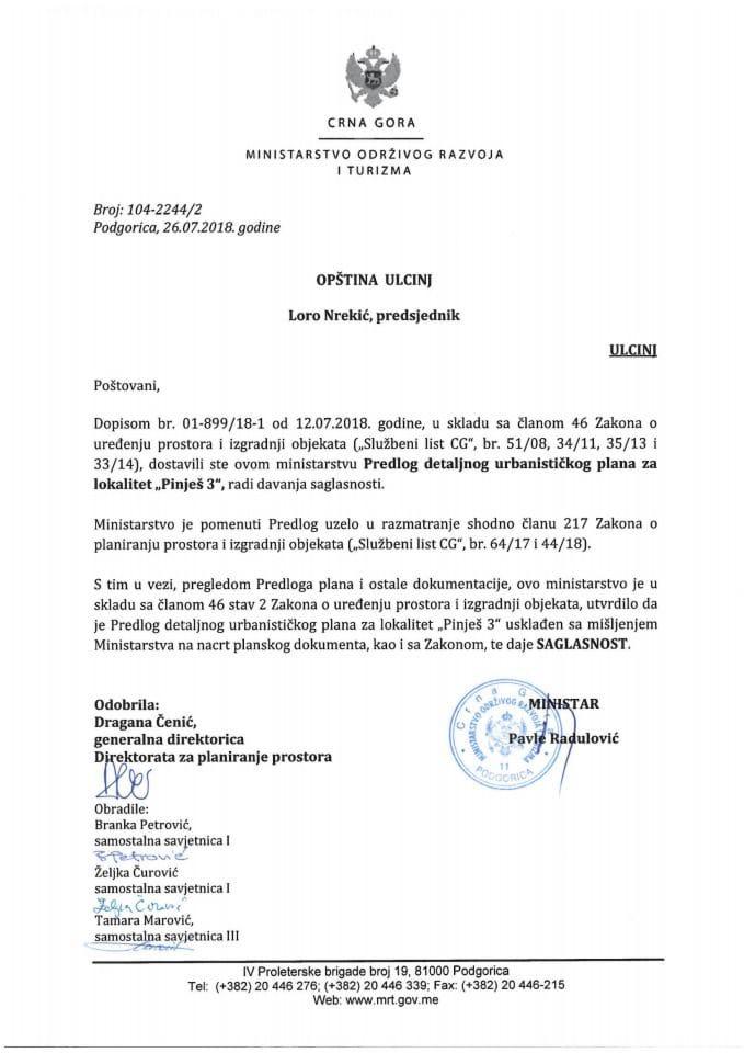 104-2244_2 Saglasnost na Predlog DUP-a za lokalitet Pinješ 3, Opština Ulcinj