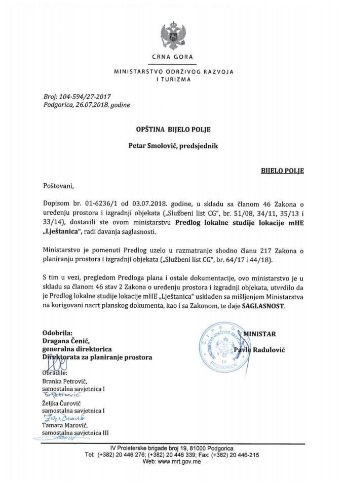 104-594_27-2017 Saglasnost na Predlog LSL mHE Lještanica, Opština Bijelo Polje