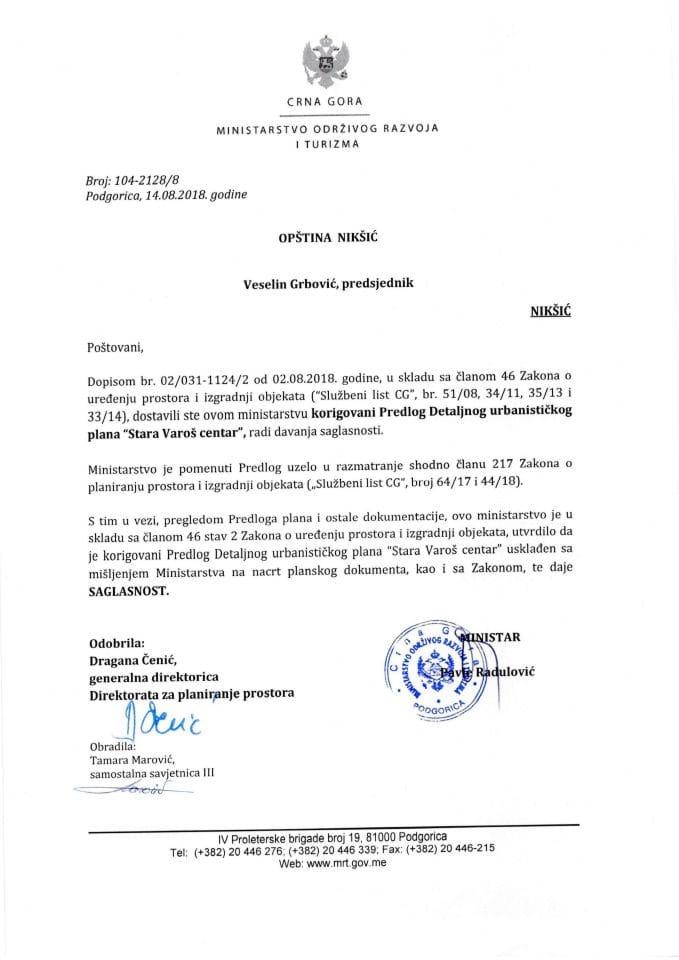 SAGLASNOST DUP Stara Varoš centar, Nikšić