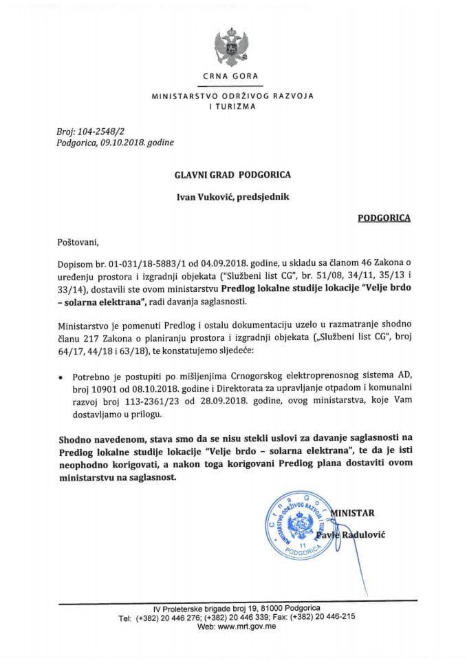 104-2548_2 Predlog LSL Velje brdo-solarna elektrana, Glavni grad Podgorica