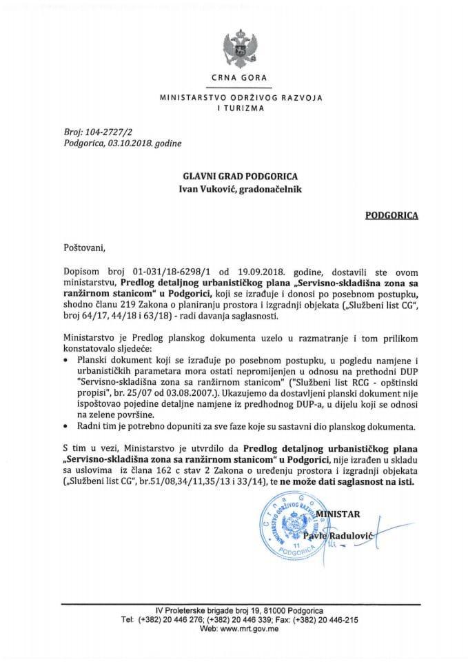 104-2727_2 Predlog DUP Servisno-skladišna zona sa ranžirnom stanicom, Glavni grad Podgorica