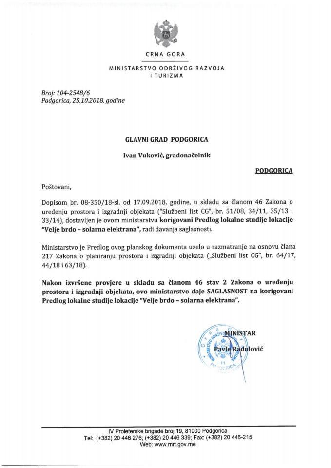 104-2548_6 Saglasnost na korigovani Predlog LSL -solarna elektrana, Glavni grad Podgorica