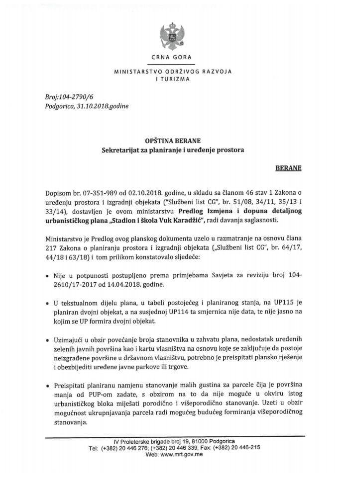 104-2790_6 Predlog IID DUP-a Stadion i škola Vuk Karadžić, Opština Berane