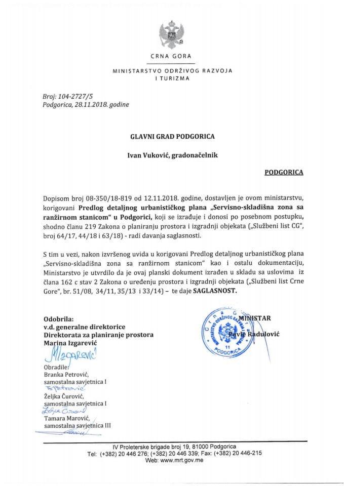 104-2727_5 Saglasnost na Predlog DUP-a Servisno-skladišna zona sa ranžirnom stanicom,Glavni grad Podgorica