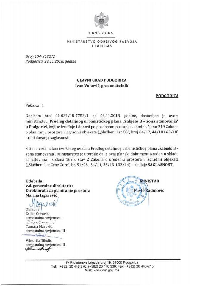 104-3132_2 Saglasnost na Predlog DUP-a Zabjelo 8-zona stanovanja, Glavni grad Podgorica