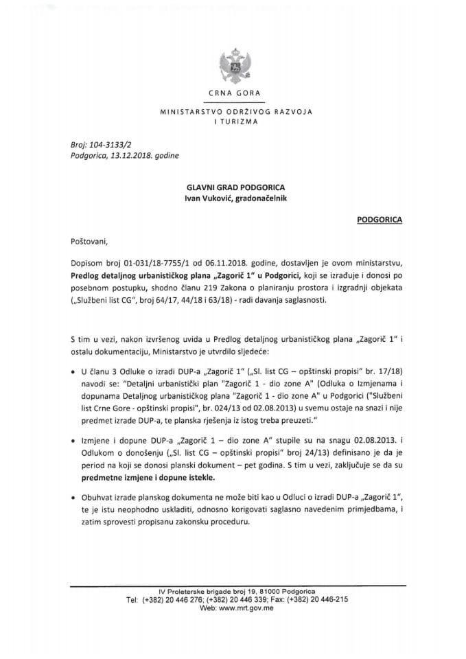 104-3133_2 Predlog DUP-a Zagorič 1, Glavni grad Podgorica