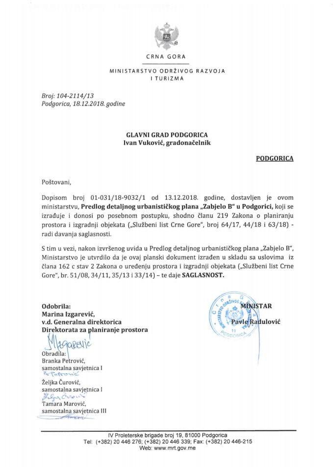104-2114_13 Saglasnost na Predlog DUP-a Zabjelo B, Glavni grad Podgorica