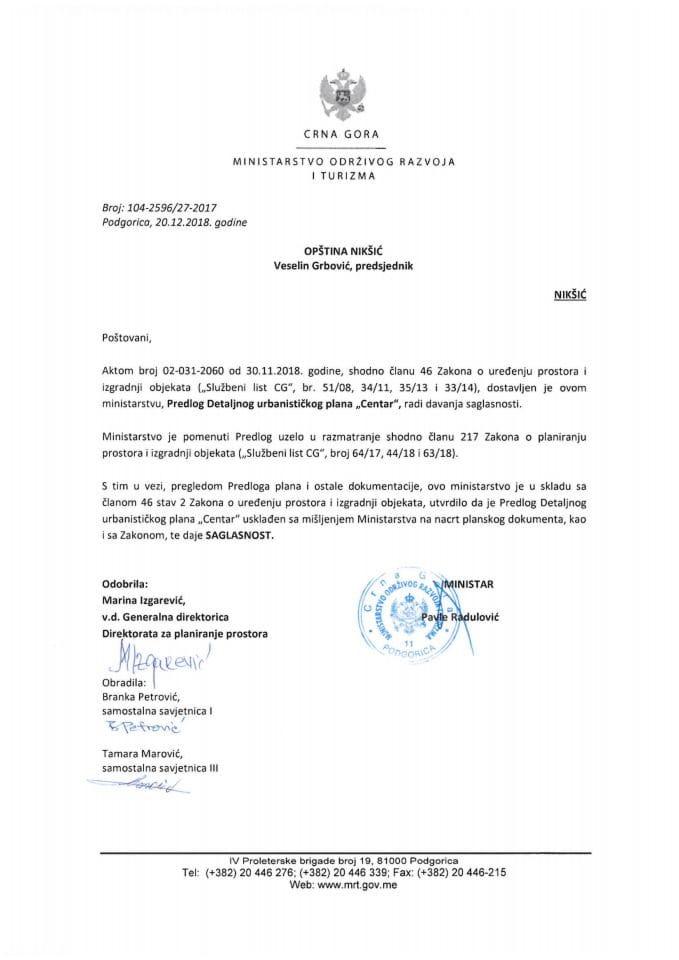 104-2596_27-2017 Saglasnost na Predlog DUP-a Centar, Opština Nikšić