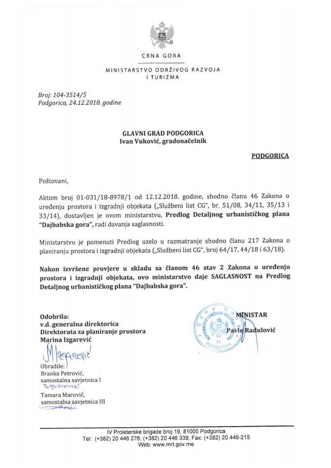 104-3514_5 Saglasnost na Predlog DUP-a Dajbabska gora, Glavni grad Podgorica