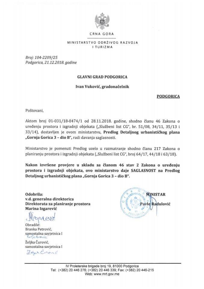 104-2209_25 Saglasnost na Predlog DUP-a Gornja Gorica 3-dio B, Glavni grad Podgorica