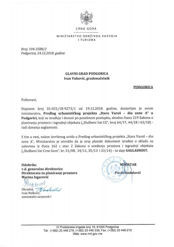 104-3588_2 Saglasnost na Predlog UP-a Stara Varoš-dio zone A, Glavni grad Podgorica